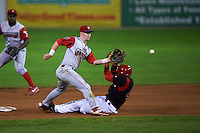 Williamsport Crosscutters shortstop Dylan Bosheers (17) waits for a throw as Yuniel Ramirez (43) slides into second on a stolen base during a game against the Batavia Muckdogs on August 28, 2015 at Dwyer Stadium in Batavia, New York.  Batavia defeated Williamsport 6-0.  (Mike Janes/Four Seam Images)