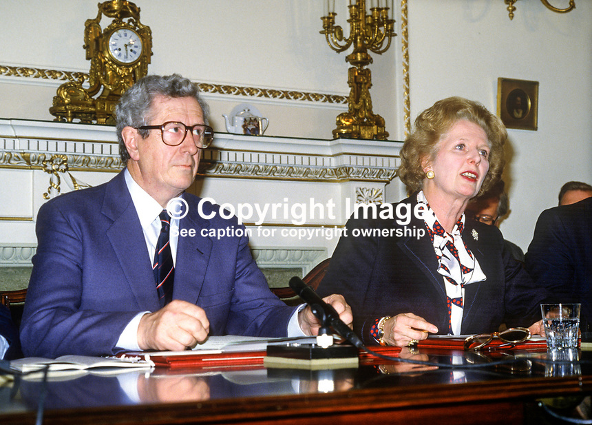 Press conference following signing of Anglo-Irish Agreement by Margaret Thatcher, Prime Minister, UK, and Garret Fitzgerald, Prime Minister, An Taoiseach, Rep of Ireland, at Hillsborough Castle, N Ireland, 15th November 1985. 1985111505c.<br />
