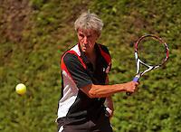 Netherlands, Amstelveen, August 22, 2015, Tennis,  National Veteran Championships, NVK, TV de Kegel,  Men's 70+, Piet Bovenhof<br /> Photo: Tennisimages/Henk Koster