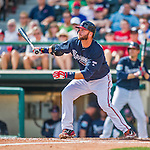 11 March 2016: Atlanta Braves catcher A.J. Pierzynski in action during a Spring Training pre-season game against the Philadelphia Phillies at Champion Stadium in the ESPN Wide World of Sports Complex in Kissimmee, Florida. The Phillies defeated the Braves 9-2 in Grapefruit League play. Mandatory Credit: Ed Wolfstein Photo *** RAW (NEF) Image File Available ***