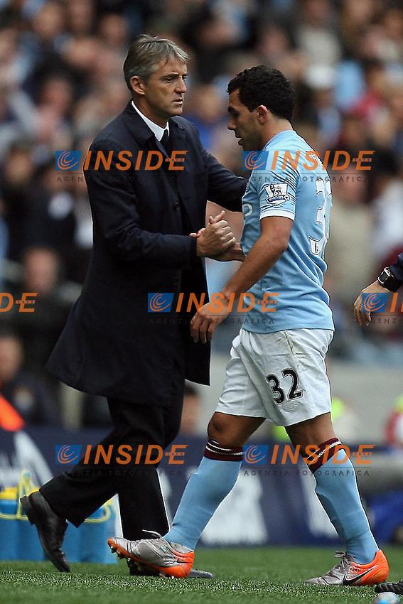 Roberto Mancini e Carlos Tevez Manchester City.25/9/2010 .Foto Insidefoto / EXPA/ IPS/ M. Atkins .ITALY ONLY