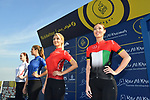 The leaders jerseys on display at sign on before the start of Stage 2 The  Ras Al Khaimah Stage of the Dubai Tour 2018 the Dubai Tour&rsquo;s 5th edition, running 190km from Skydive Dubai to Ras Al Khaimah, Dubai, United Arab Emirates. 7th February 2018.<br /> Picture: LaPresse/Massimo Paolone | Cyclefile<br /> <br /> <br /> All photos usage must carry mandatory copyright credit (&copy; Cyclefile | LaPresse/Massimo Paolone)