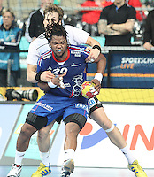 18.01.2013 Barcelona, Spain. IHF men's world championship, prelimanary round. Picture show Cedric Sorhaindo   in action during game between France vs Germany at Palau St Jordi