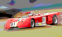 A vintage race car races through a corner during an historick racing event at Daytona International Speedway, Daytona Beach, FL. image has been digitally manipulated in photoshop (Photo by Brian Cleary/www.bcpix.com)