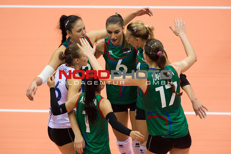 05.10.2014, Pala Trieste, Triest<br /> Volleyball, FIVB Volleyball Women`s World Championship 2014, 2. Runde, Deutschland (GER) vs. Aserbaidschan (AZE)<br /> <br /> Jubel Aserbaidschan<br /> <br />   Foto &copy; nordphoto / Kurth