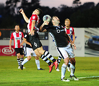 Lincoln City's Matt Rhead vies for possession with Exeter City's Jordan Tillson<br /> <br /> Photographer Chris Vaughan/CameraSport<br /> <br /> The EFL Sky Bet League Two Play Off Second Leg - Exeter City v Lincoln City - Thursday 17th May 2018 - St James Park - Exeter<br /> <br /> World Copyright &copy; 2018 CameraSport. All rights reserved. 43 Linden Ave. Countesthorpe. Leicester. England. LE8 5PG - Tel: +44 (0) 116 277 4147 - admin@camerasport.com - www.camerasport.com