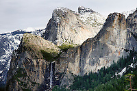 Bridalveil Falls with a trickle coming down in the dead of winter