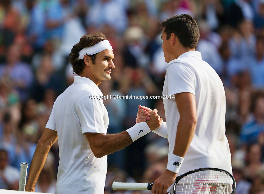 England, London, 28.06.2014. Tennis, Wimbledon, AELTC, Men's semifinal Roger Federer (SUI) and Milos Raonic (CAN), Pictured: Roger Federer receives congratulations from Raonic (R)<br /> Photo: Tennisimages/Henk Koster