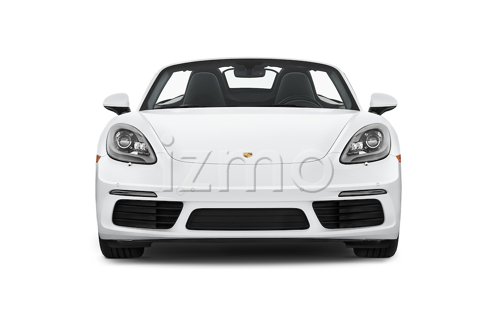 Car photography straight front view of a 2017 Porsche 718 Boxster-S 2 Door Convertible Front View