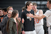 The Occidental College men's basketball team plays against Redlands University in Rush Gym on Feb. 20, 2018.<br /> (Photo by Marc Campos, Occidental College Photographer)