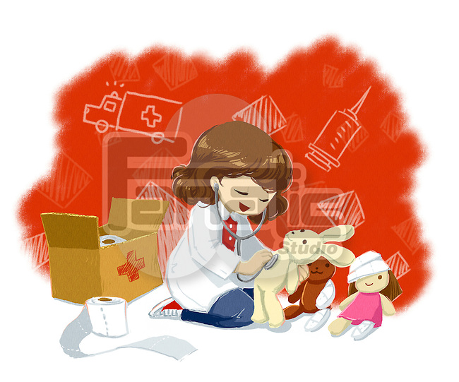 Illustration of little girl in labcoat examining teddy bear representing aspiration