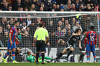 3rd November 2019; Selhurst Park, London, England; English Premier League Football, Crystal Palace versus Leicester City; Caglar Soyuncu of Leicester City celebrates as he scores for for 0-1 past keeper Guaita in the 57th minute - Strictly Editorial Use Only. No use with unauthorized audio, video, data, fixture lists, club/league logos or 'live' services. Online in-match use limited to 120 images, no video emulation. No use in betting, games or single club/league/player publications