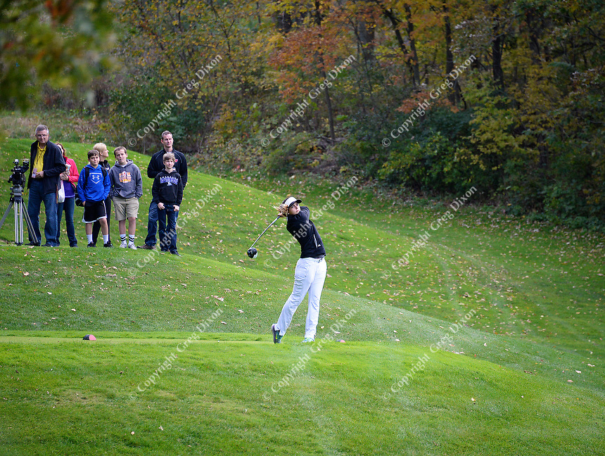 Franklin's Megan Hessil tees off on #10 at the 2015 WIAA state girls golf championship on Monday, October 12, 2015 at University Ridge Golf Course in Madison, Wisconsin