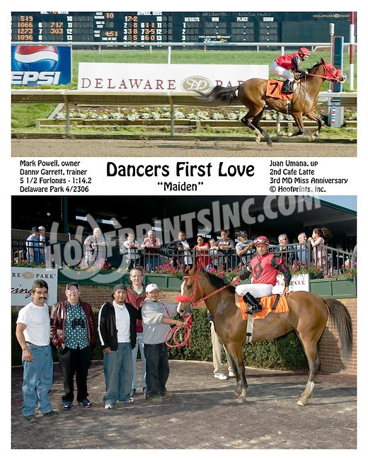 Dancers First Love winning at Delaware Park on 4/23/2006