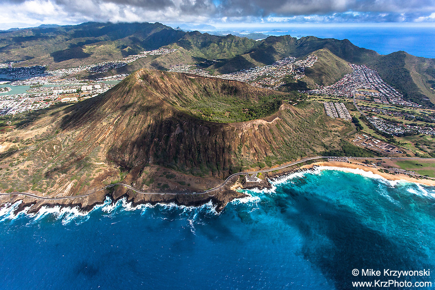 Aerial view of Koko Head Crater, Oahu