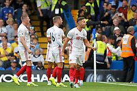 GOAL - George Baldock enjoys the late goal from Lys Mousset of Sheffield United during the Premier League match between Chelsea and Sheff United at Stamford Bridge, London, England on 31 August 2019. Photo by Carlton Myrie / PRiME Media Images.