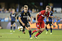 San Jose, CA - Wednesday September 27, 2017: Tommy Thompson during a Major League Soccer (MLS) match between the San Jose Earthquakes and the Chicago Fire at Avaya Stadium.