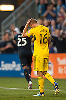 Eric Gehrig (16) of the Columbus Crew reacts to a goal by Sheanon Williams (25) of the Philadelphia Union. The Philadelphia Union defeated the Columbus Crew 3-0 during a Major League Soccer (MLS) match at PPL Park in Chester, PA, on June 5, 2013.