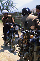 Minsk motorcycle and riders, Northern Vietnam