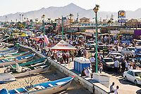 Crowded street during celebrations of 2008 San Felipe Baja 250, San Felipe, Baja California, Mexico