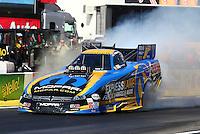 Feb 6, 2015; Pomona, CA, USA; NHRA funny car driver Matt Hagan during qualifying for the Winternationals at Auto Club Raceway at Pomona. Mandatory Credit: Mark J. Rebilas-