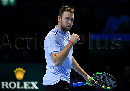 18th November 2017, O2 Arena, London, England; Nitto ATP Tennis Finals; Jack Sock (USA) shows his emotions in his match with Grigor Dimitrov (BUL)
