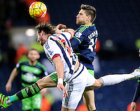 Jonas Olsson of West Bromwich Albion  and Federico Fernandez of Swansea City during the Barclays Premier League match between West Bromwich Albion and Swansea City at The Hawthorns on the 2nd of February 2016
