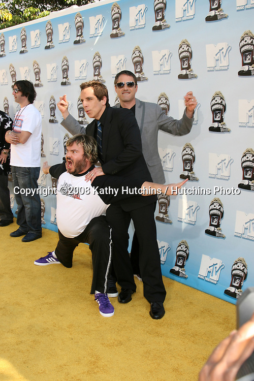 Jack Black, Robert Downey Jr, and Ben Stiller.MTV Movie Awards 2008.Universal City.Los Angeles,  CA.May 31, 2008.©2008 Kathy Hutchins / Hutchins Photo .
