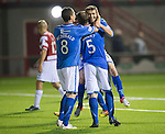 Hamilton Accies v St Johnstone...24.09.13      League Cup<br /> Gwion Edwards celebrates his goal with Frazer Wright and Gary MacDonald<br /> Picture by Graeme Hart.<br /> Copyright Perthshire Picture Agency<br /> Tel: 01738 623350  Mobile: 07990 594431
