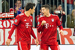 07.11.2018, Allianz Arena, Muenchen, GER, UEFA CL, FC Bayern Muenchen (GER) vs AEK Athen (GRC), Gruppe E, UEFA regulations prohibit any use of photographs as image sequences and/or quasi-video, im Bild Jubel nach dem Tor zum 1-0 durch Robert Lewandowski (FCB #9) mit Mats Hummels (FCB #5) <br /> <br /> Foto &copy; nordphoto / Straubmeier