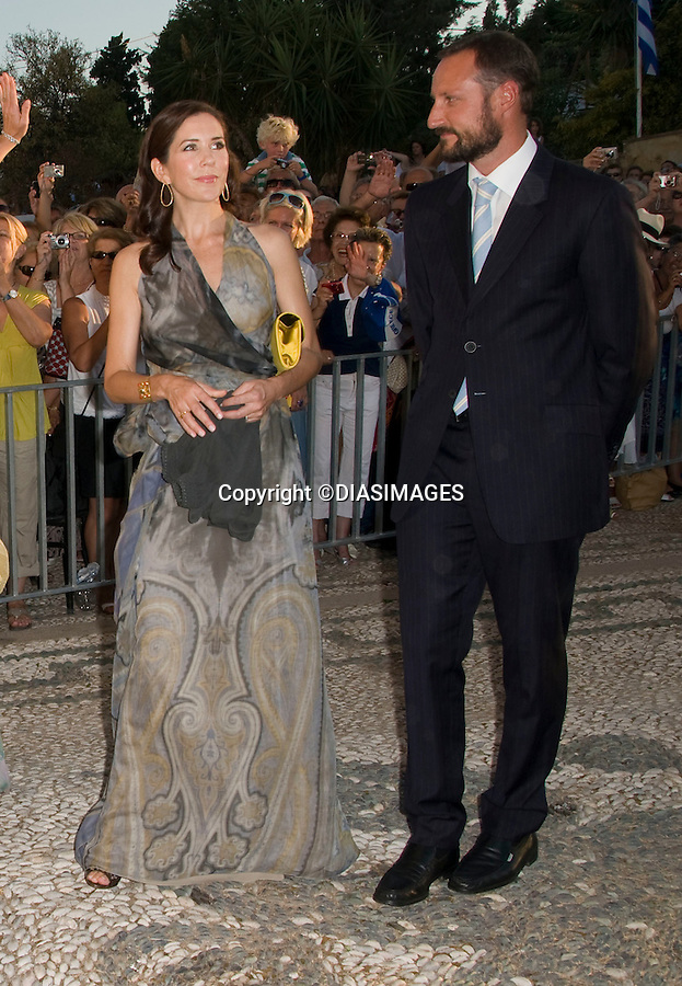 "PRINCE NIKOLAOS AND TATIANA BLATNIK WEDDING_Crown Princess Mary and Crown Prince Haakon.St Nikolaos Church, Spetses, Greece_25/08/2010.Mandatory Credit Photo: ©DIASIMAGES..**ALL FEES PAYABLE TO: ""NEWSPIX INTERNATIONAL""**..IMMEDIATE CONFIRMATION OF USAGE REQUIRED:.Newspix International, 31 Chinnery Hill, Bishop's Stortford, ENGLAND CM23 3PS.Tel:+441279 324672  ; Fax: +441279656877.Mobile:  07775681153.e-mail: info@newspixinternational.co.uk"