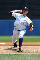 Staten Island Yankees pitcher Alex Smith (38) during game against the Auburn Doubledays at Richmond County Bank Ballpark at St.George on August 2, 2012 in Staten Island, NY.  Auburn defeated Staten Island 11-3.  Tomasso DeRosa/Four Seam Images