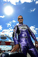 Sept 8, 2012; Clermont, IN, USA: NHRA pro stock motorcycle rider Eddie Krawiec during qualifying for the US Nationals at Lucas Oil Raceway. Mandatory Credit: Mark J. Rebilas-