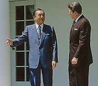 Washington DC., USA, May 1, 1987<br /> President Ronald Reagan and Japanese Prime Minister Yasuhiro Nakasone in the Rose Garden of the White House Credit: Mark Reinstein/MediaPunch