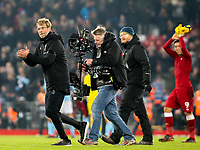 Liverpool manager Jurgen Klopp celebrates after the match<br /> <br /> Photographer Alex Dodd/CameraSport<br /> <br /> The Premier League - Liverpool v Manchester City - Sunday 14th January 2018 - Anfield - Liverpool<br /> <br /> World Copyright &copy; 2018 CameraSport. All rights reserved. 43 Linden Ave. Countesthorpe. Leicester. England. LE8 5PG - Tel: +44 (0) 116 277 4147 - admin@camerasport.com - www.camerasport.com
