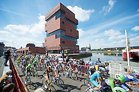 peloton starting in front of the impressive MAS museum<br /> <br /> World Ports Classic 2014,<br /> stage 2: Antwerpen - Rotterdam (159km)