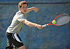 Brian Hoffarth of St. Anthony's High School goes to his backhand during the NSCHSAA varsity boys' tennis singles championship match against Chaminade junior Colin Sacco at Hofstra University on Thursday, May 7, 2015. The Loyola University-bound senior bested Sacco 6-3, 6-2 to win the league's singles title.