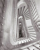 GREECE, Athens, looking down the stairwell of the Grand Bretagne Hotel (B&W)