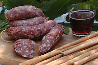 Salumi tipici della Valchiusella in Piemonte. Typical salami product in Valchiusella, zone of the Piedmont...