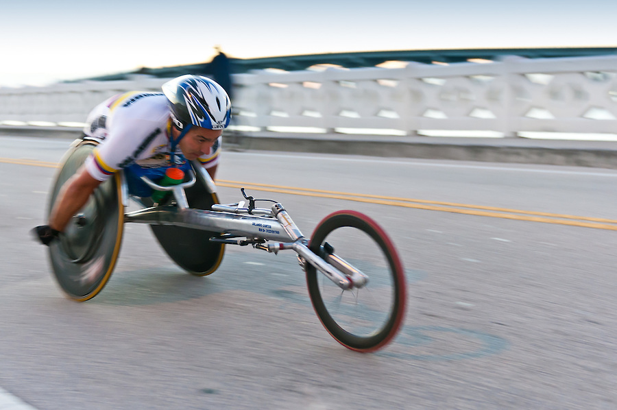 MIAMI, FL - JANUARY 30: Competitor Orlando Cortes, racing in  wheekchair during the Miami Marathon. January 30, 2011 in Miami, Florida.