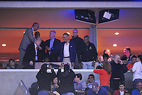 President Obama greets the ground from the luxury suite. Syracuse defeated Marquette 55-39 during the NCAA East Regional Final at the Verizon Center in Washington, D.C. on Saturday, March 30, 2013. Alan P. Santos/DC Sports Box