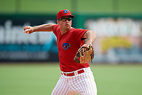 Clearwater Threshers third baseman Damek Tomscha (21) throws to first base during the first game of a doubleheader against the Lakeland Flying Tigers on June 14, 2017 at Spectrum Field in Clearwater, Florida.  Lakeland defeated Clearwater 5-1.  (Mike Janes/Four Seam Images)