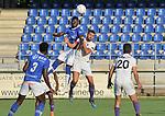 2018-08-01 / voetbal / seizoen 2018 - 2019 / ASV Geel - Patro Eisden Maasmechelen / een luchtduel tussen Bernardinho Osah (l) (Geel) en Francesco Carrata (r) (Patro Eisden)