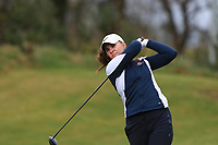 Live Hope (NOR) on the 1st tee during Round 1 of the Irish Girls U18 Open Stroke Play Championship at Roganstown Golf &amp; Country Club, Dublin, Ireland. 05/04/19 <br /> Picture:  Thos Caffrey / www.golffile.ie