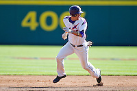 Eric Stamets (8) of the Evansville Purple Aces rounds second base during a game against the Indiana State Sycamores in the 2012 Missouri Valley Conference Championship Tournament at Hammons Field on May 23, 2012 in Springfield, Missouri. (David Welker/Four Seam Images)