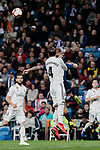 Real Madrid's Sergio Ramos fight for the ball during La Liga match between Real Madrid and SD Huesca at Santiago Bernabeu Stadium in Madrid, Spain.March 31, 2019. (ALTERPHOTOS/A. Perez Meca)