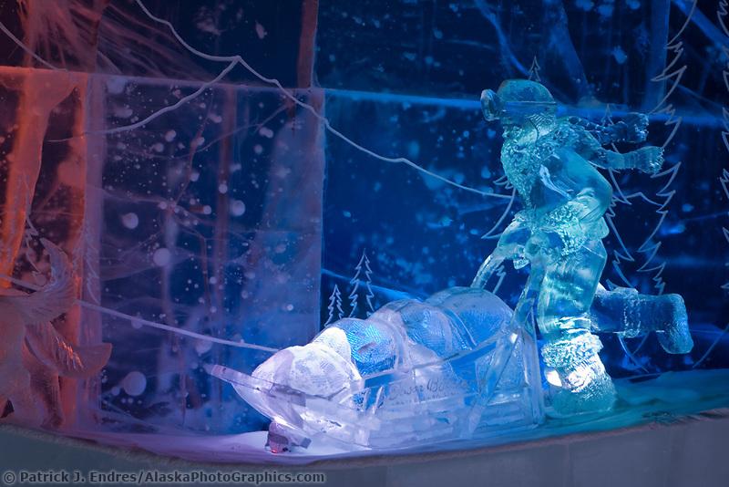Dog Musher, Susan Butcher Memorial sculpture, 2007 World Ice Art Championships.
