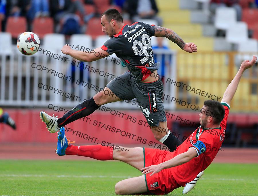 Fudbal Jelen Super League season 2014-2015 <br /> Donji Srem v Crvena Zvezda<br /> Petar Orlandic (L) and Marko Prljevic<br /> Novi Sad, 29.04.2015.<br /> foto: Srdjan Stevanovic/Starsportphoto&copy;