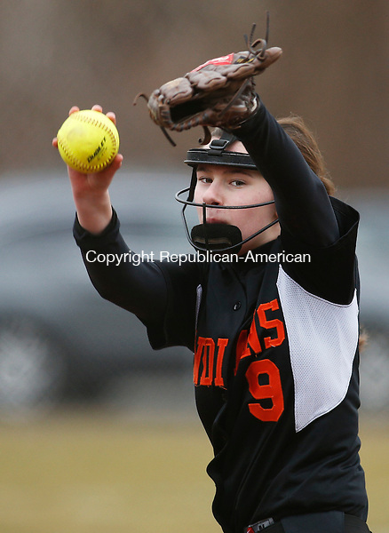 Naugatuck, CT- 08 April 2015-040815CM12- Watertown's Taylor Mancinone delivers a pitch during their NVL matchup against Naugatuck on Wednesday.   Christopher Massa Republican-American