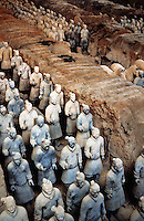 China:  Qin Buried Army near grave mound of Emperor Qin Shihuang.  Arrayed in battle formation.  CHINA'S ANCIENT TECHNOLOGY.